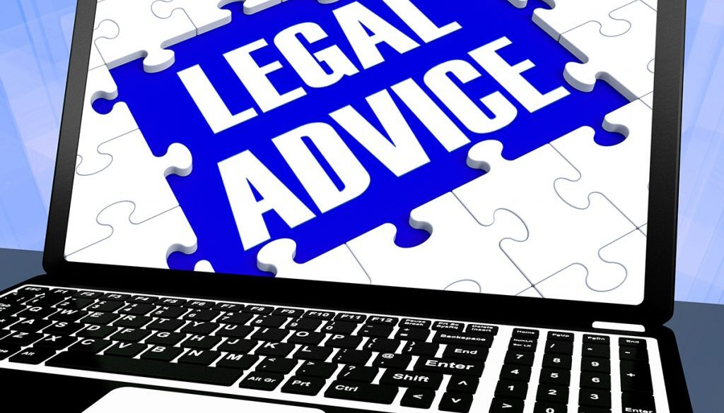Legal Advice On Laptop Showing Legal Assistance And Legal Counsel